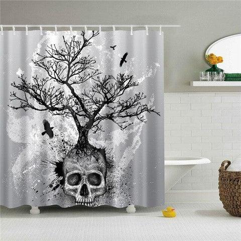 skull shower curtain skull action