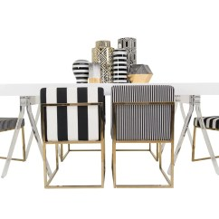 Chair Leg Covers Christmas Folding Nathaniel Alexander Modern Black And White Striped Dining Modshop