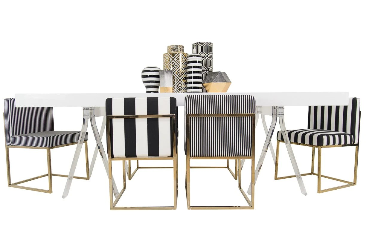 Black And White Striped Chair Modern Black And White Striped Dining Chair Modshop