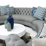 Chesterfield Circle Sectional In Grey Leather Modshop