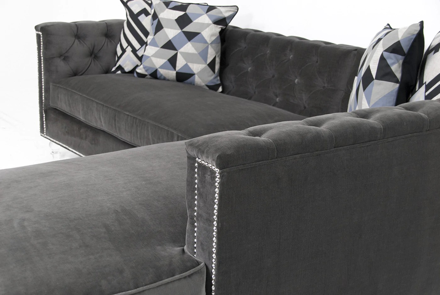 hollywood sectional in cannes dark grey