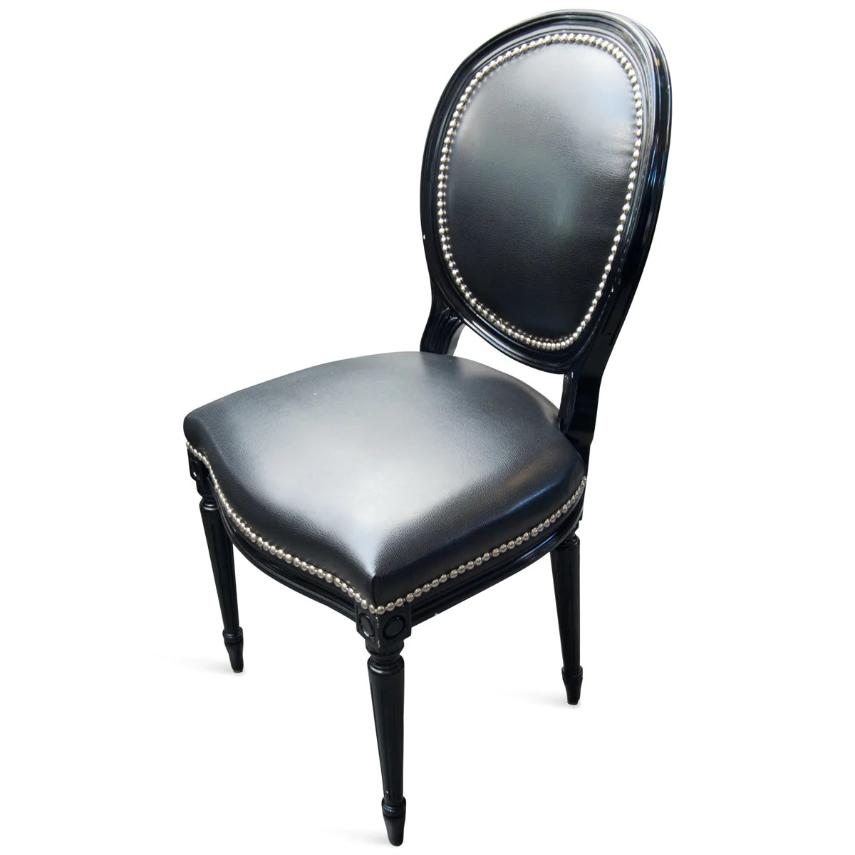 louis dining chairs metal chaise lounge chair black faux leather upholstery modshop