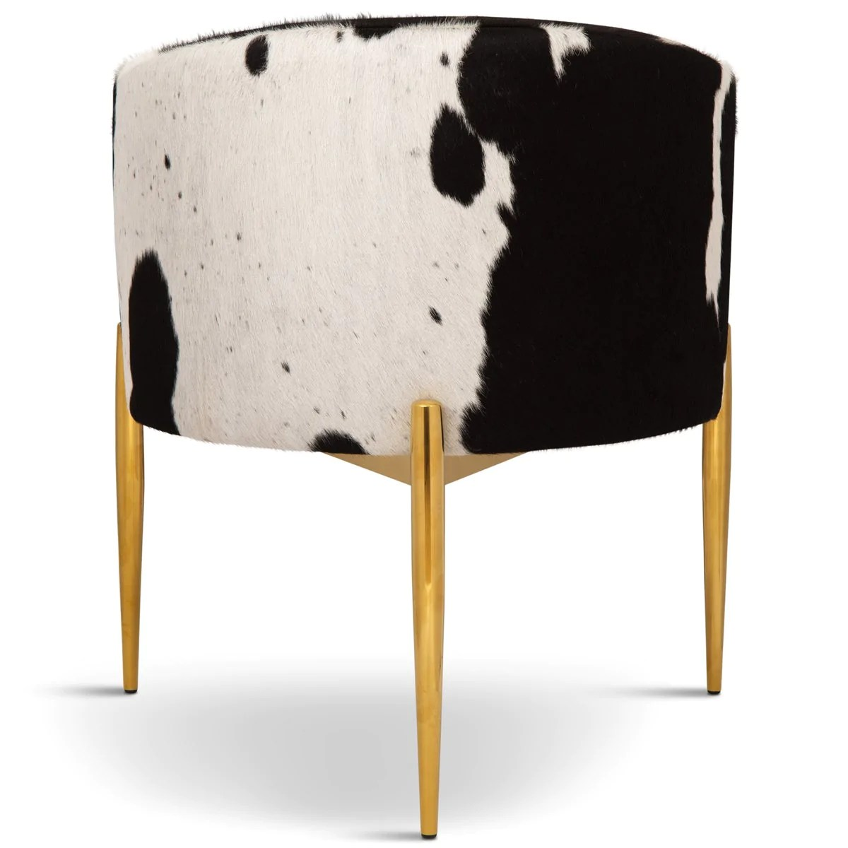black and white cowhide chair pottery barn doll high modern art deco dining w brass modshop in