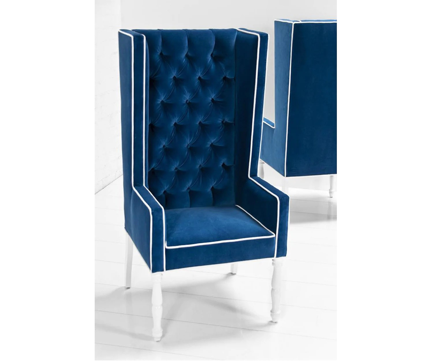 Blue Velvet Wingback Chair Ultra Tall Mod Wing Dining Chair In Royal Blue Velvet