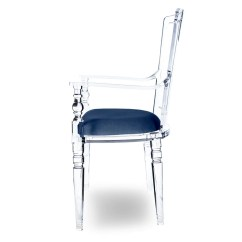 Acrylic Side Chair With Cushion Lazy Boy Big And Tall Executive Office Seat Cogoo Stuffed Clear Image Of