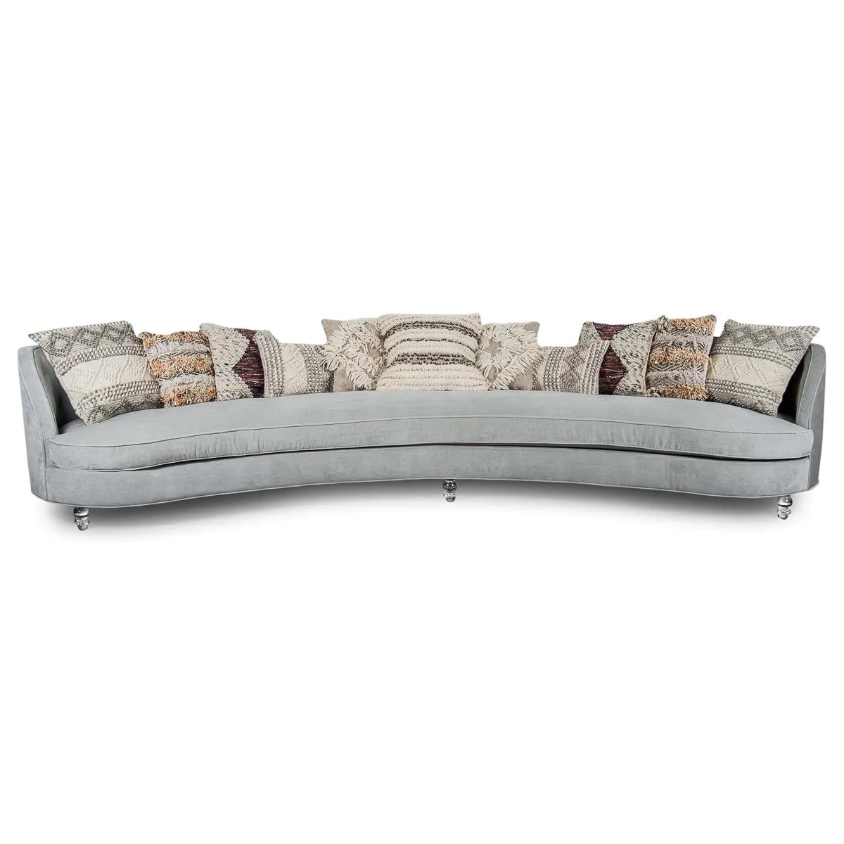 Saint Tropez Curved Sofa  Charcoal Velvet Upholstery
