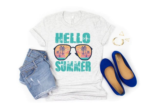 Hello summer (shades) HIGH HEAT screen print transfer – Mud & Grace Transfers