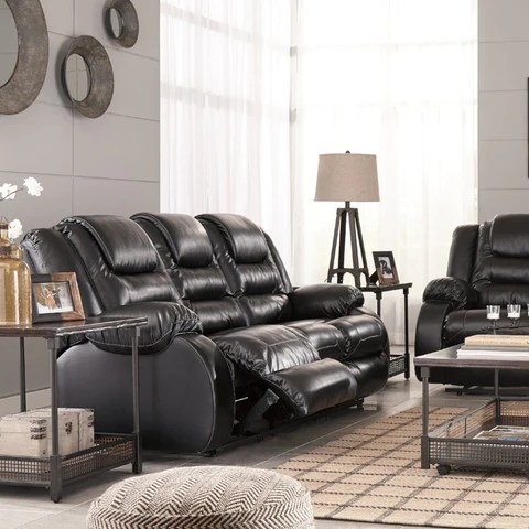 leather living rooms sets mission room adams furniture vacherie reclining set