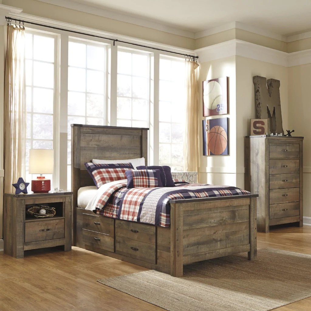 trinell panel bed w storage bedroom set