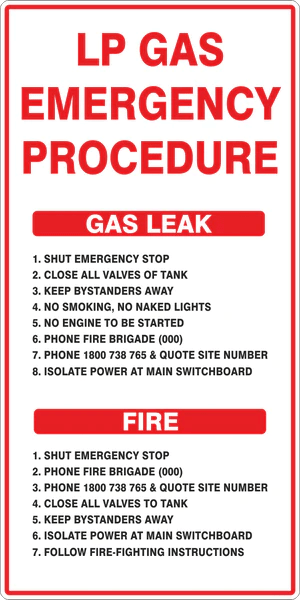 kitchen aid products cannisters lp gas emergency procedure – australian safety signs