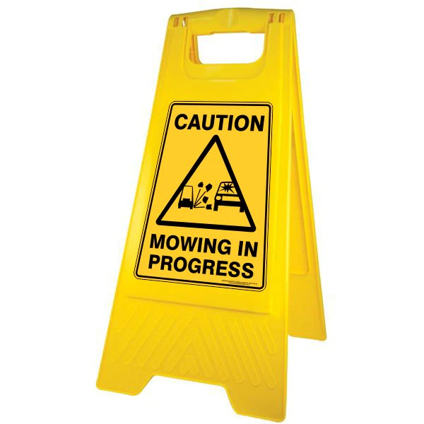 New Caution Mowing in Progress Sign Stand  Australian
