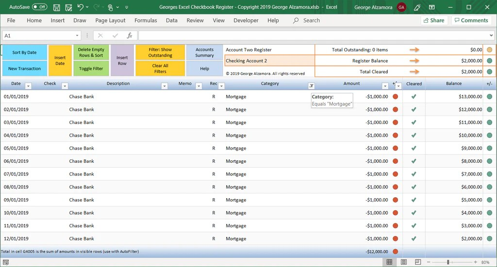 Excel Checkbook Register Spreadsheet Buyexceltemplates Com