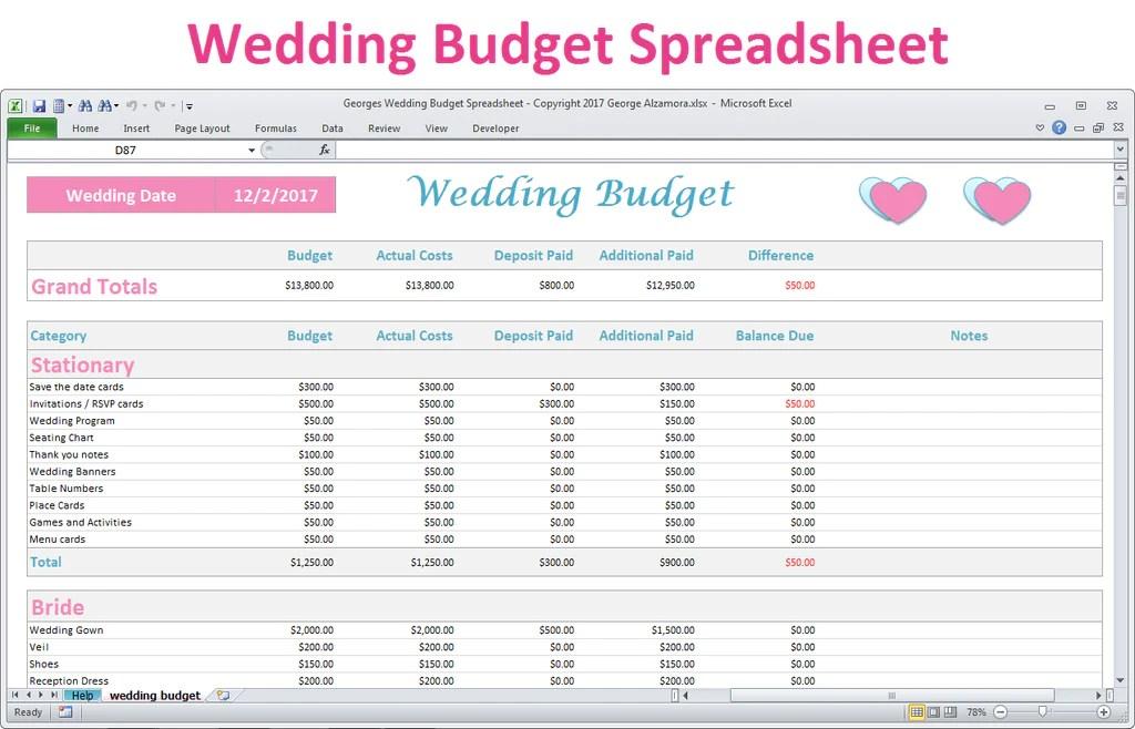 Excel Wedding Budget Planner Spreadsheet  Basic Version  BuyExcelTemplatescom