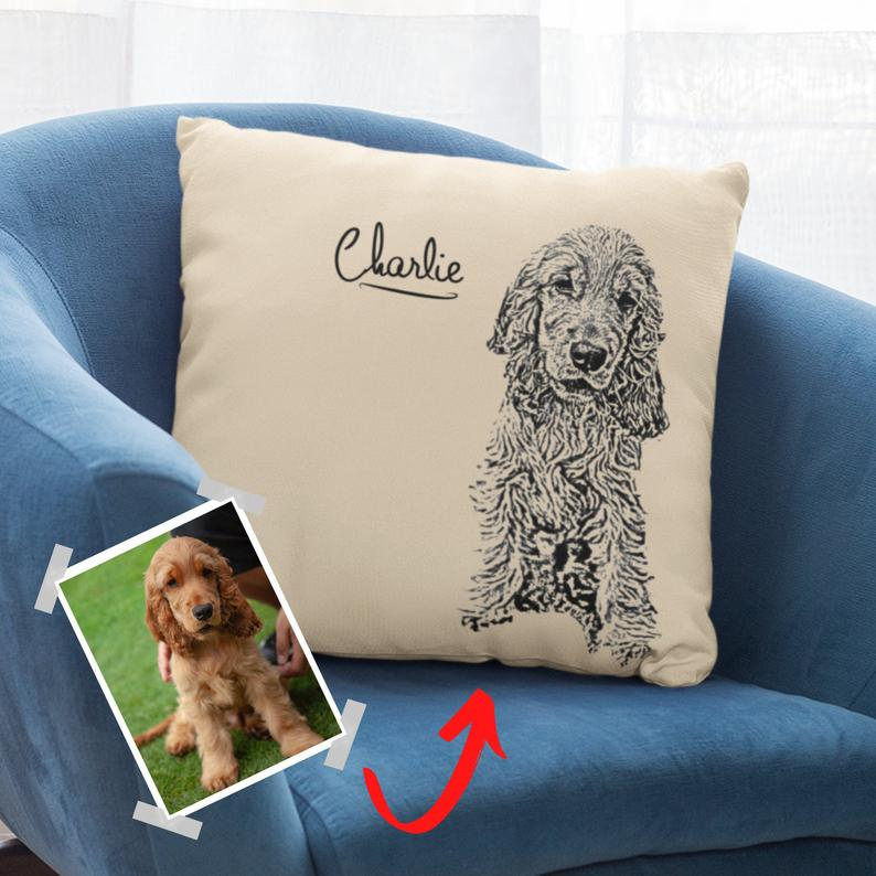 custom dog pillow hand painted photos of pet dogs as gifts