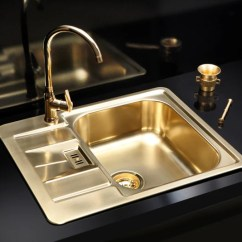 Brass Kitchen Sink Knotty Pine Cabinets For Sale Gold Finish Stainless Steel Uk Alveus Monarch Line 60 Olif