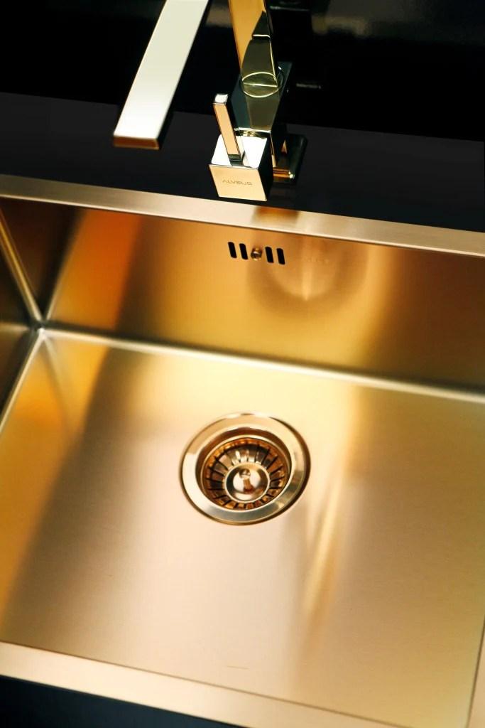 Bronze Brass Finish Kitchen Sink Flush Mount Alveus