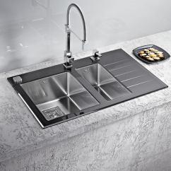Black Kitchen Sinks Bistro Set Alveus Crystalix 20, Inset Sink, Glass/ Stainless Steel – Olif