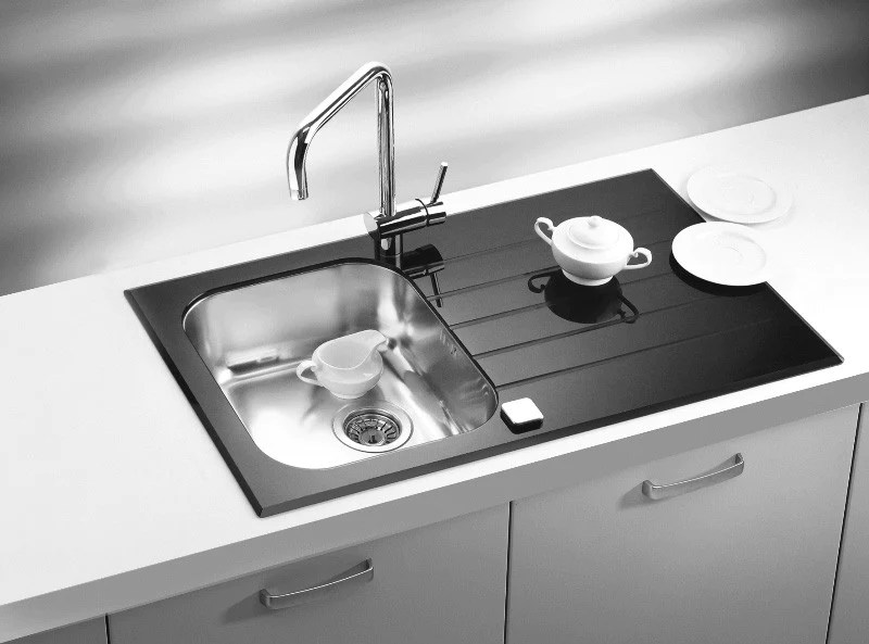 black sink kitchen lowes cabinet sale glass white bespoke colours yellow red alveus glassix 10 inset stainless steel