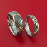 Matching Damascus Steel Heart Carved Ring Set with 14K ...