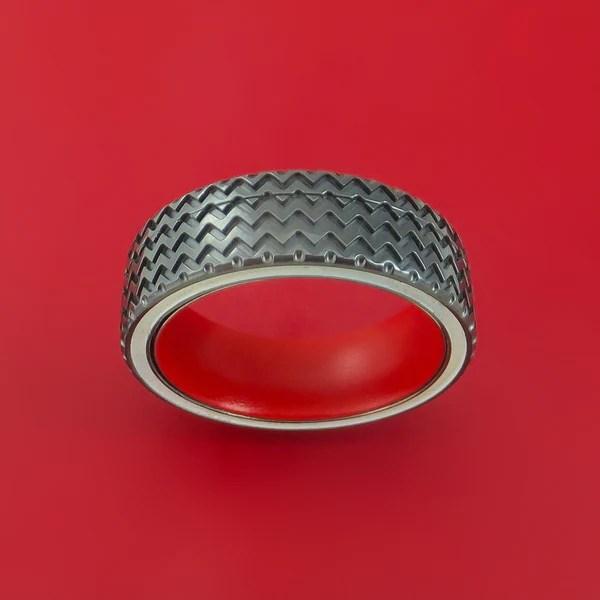 Black Zirconium Spinner Ring With Hot Rod Tire Tread