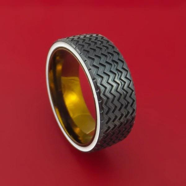 Black Zirconium Spinner Ring With Hot Rod Tire Tread Inlay