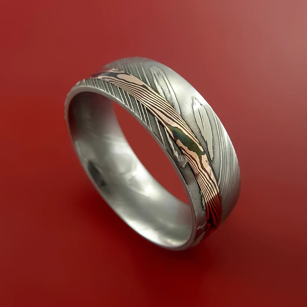 Damascus and 14k ROSE Mokume Gane GOLD Ring Custom Made