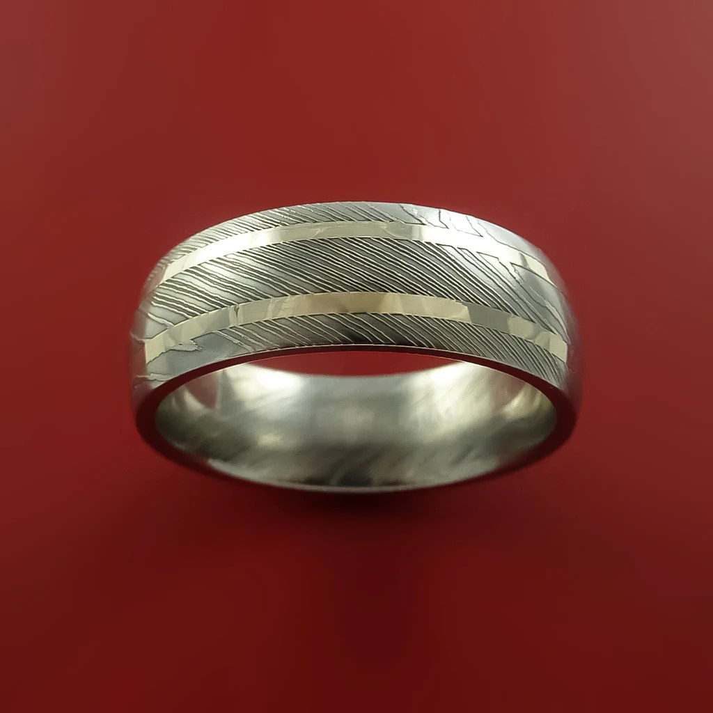 Damascus Steel 14K White Gold Ring Hand Crafted Wedding