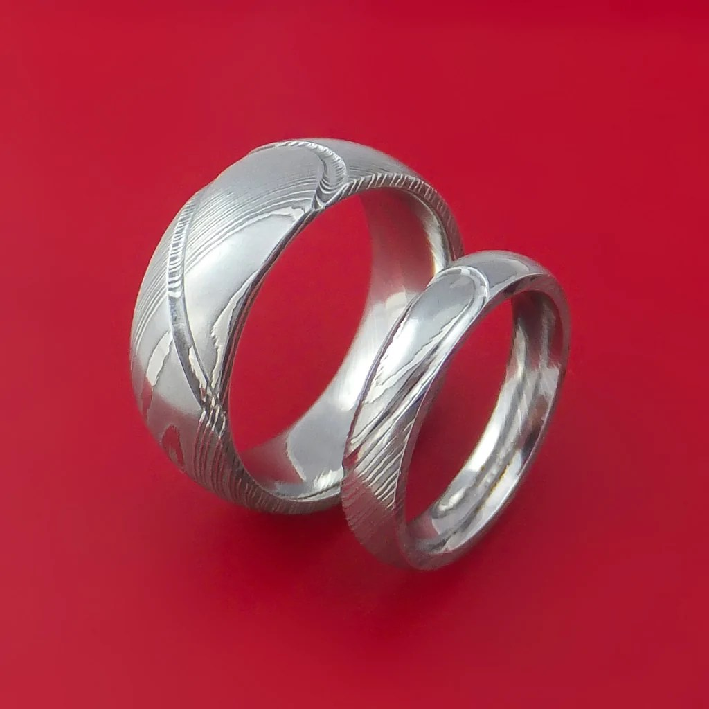 Matching Damascus Steel Heart Carved Ring Set Wedding