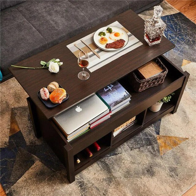 coffee table dining table hidden storage liftable top