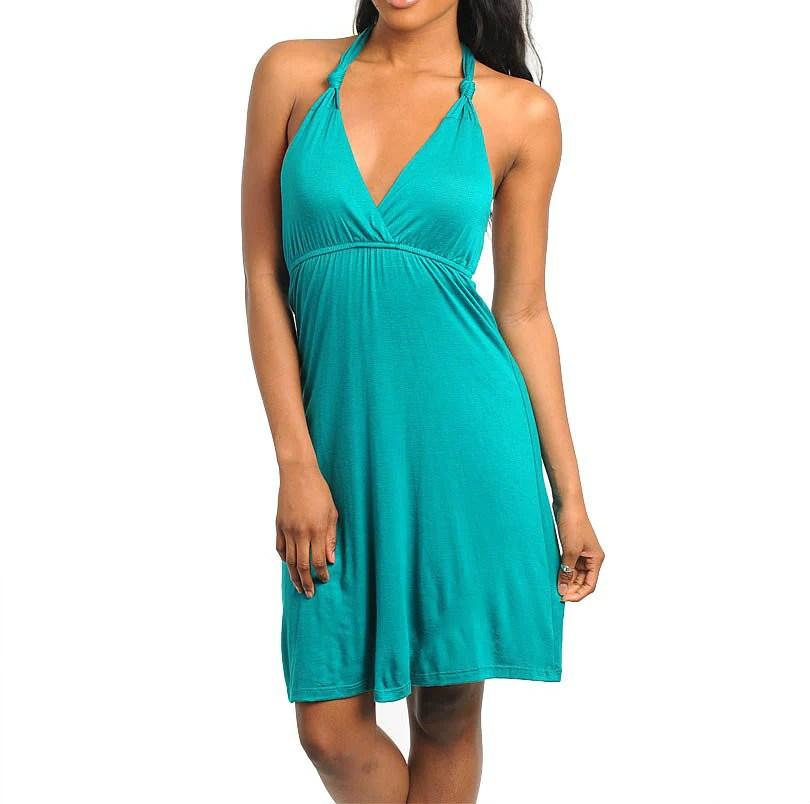 Teal Halter Top Summer Dresses