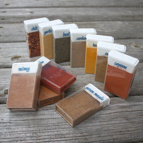 camping hacks and ideas - use Tic Tac boxes to store your spices