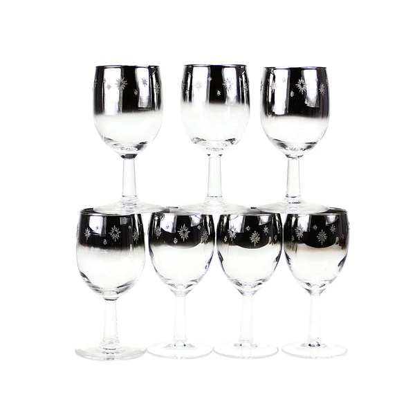Silver Ombre Wine Glasses Atomic Starburst 1960s MidCentury  Audrey Would