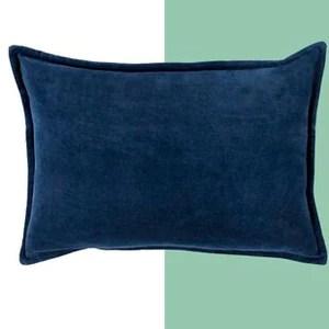 navy blue rectangle throw pillow