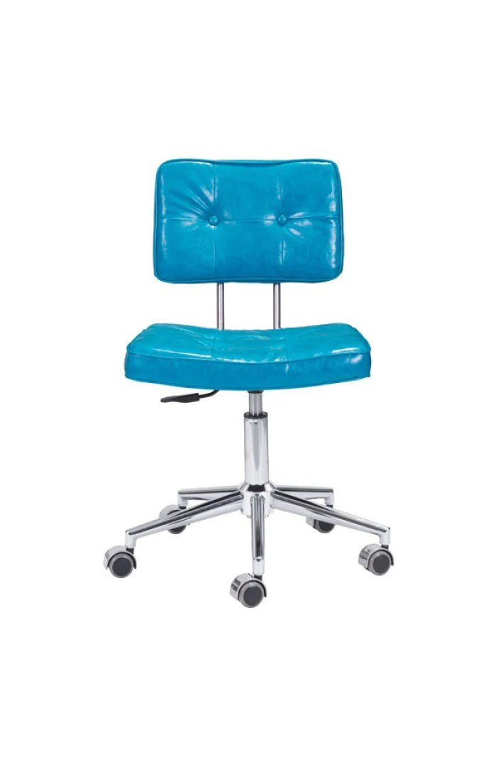 blue leather office chair back support cushion modern low with chrome base