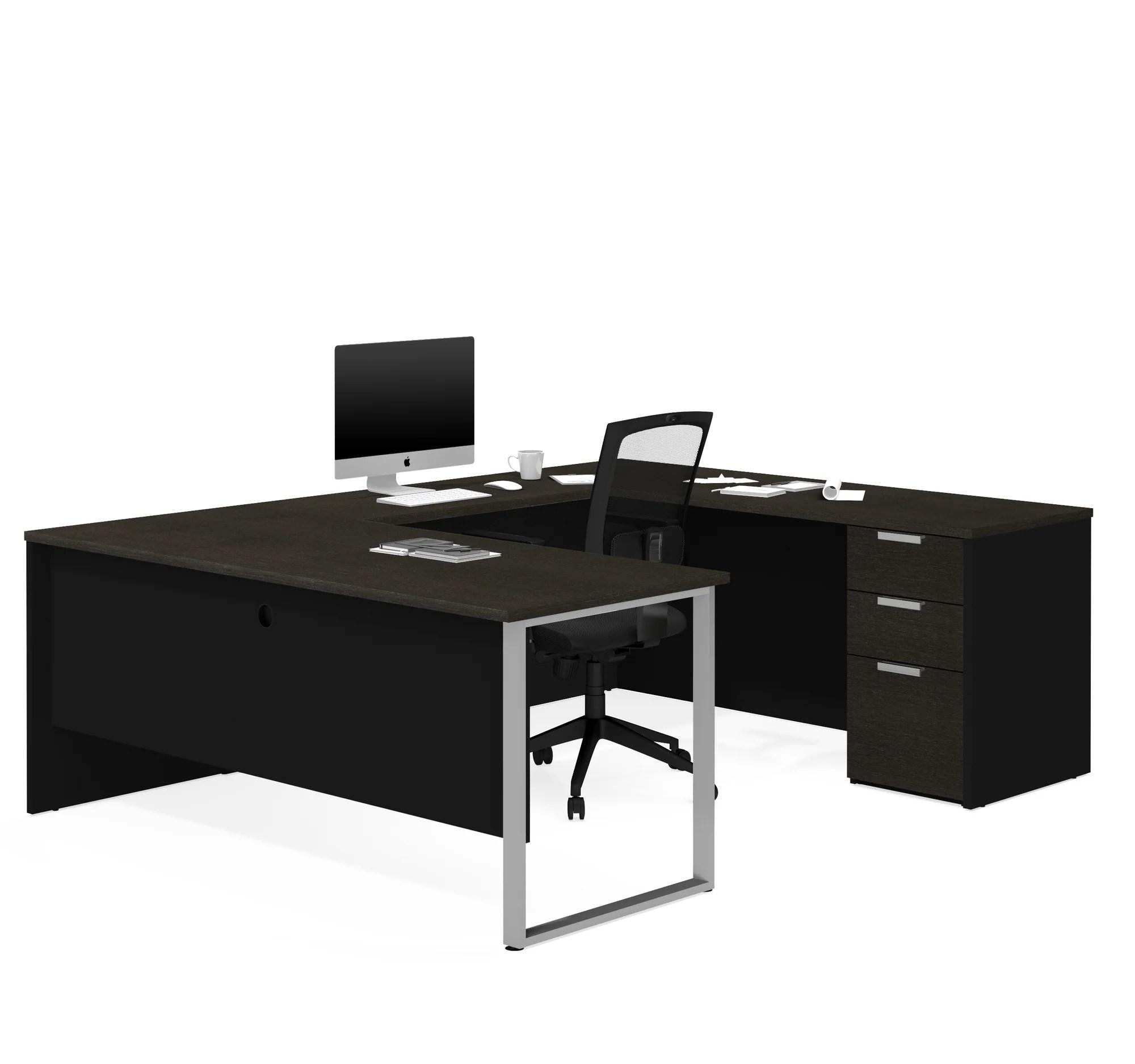 deep gray black u shaped modern desk