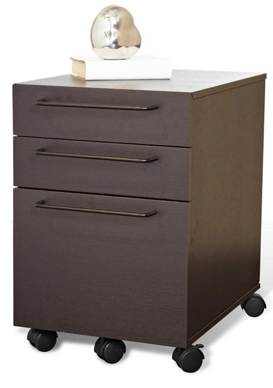 Modern Mobile File Cabinet in Espresso or White Ships