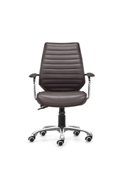 Sleek Espresso Leather  Chrome Office Chair with Padded