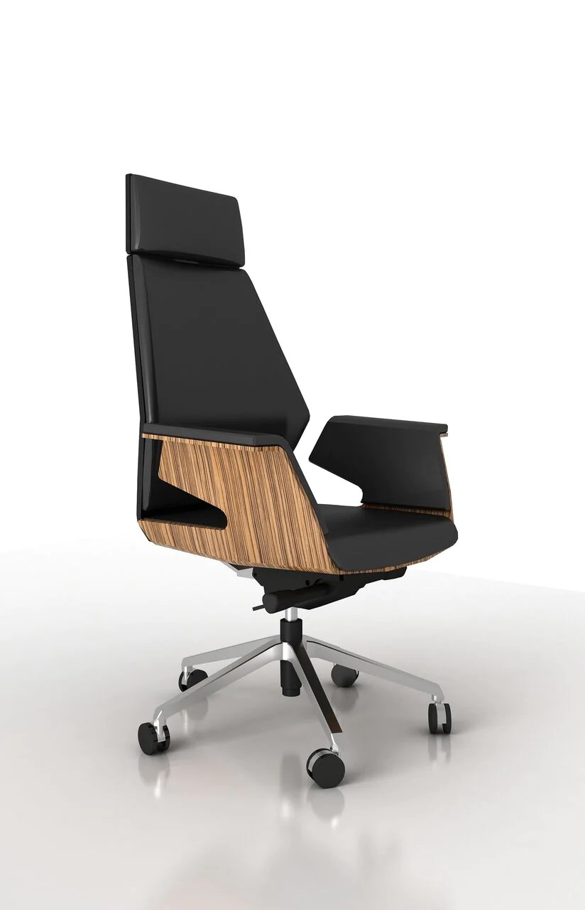 wood and leather executive office chairs desk chair decorative black eco w zebrano veneer