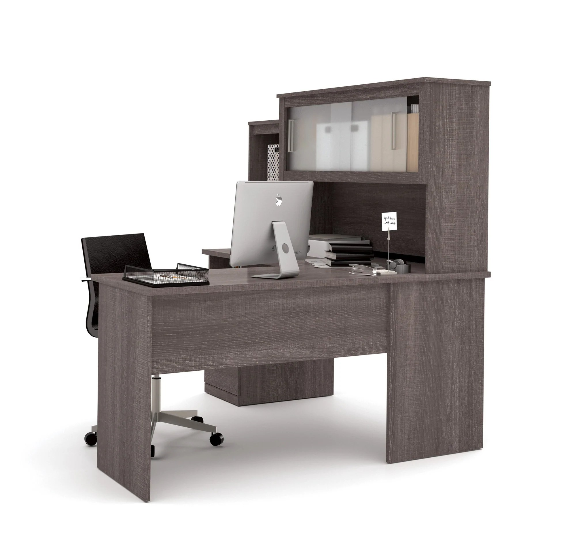 Modern Bark Gray Lshaped Desk and Hutch with Frosted Glass Doors  OfficeDeskcom