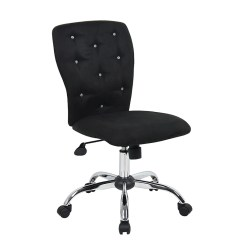Microfiber Office Chair Pool Chairs Lowes Black With Crystal Button Tufting