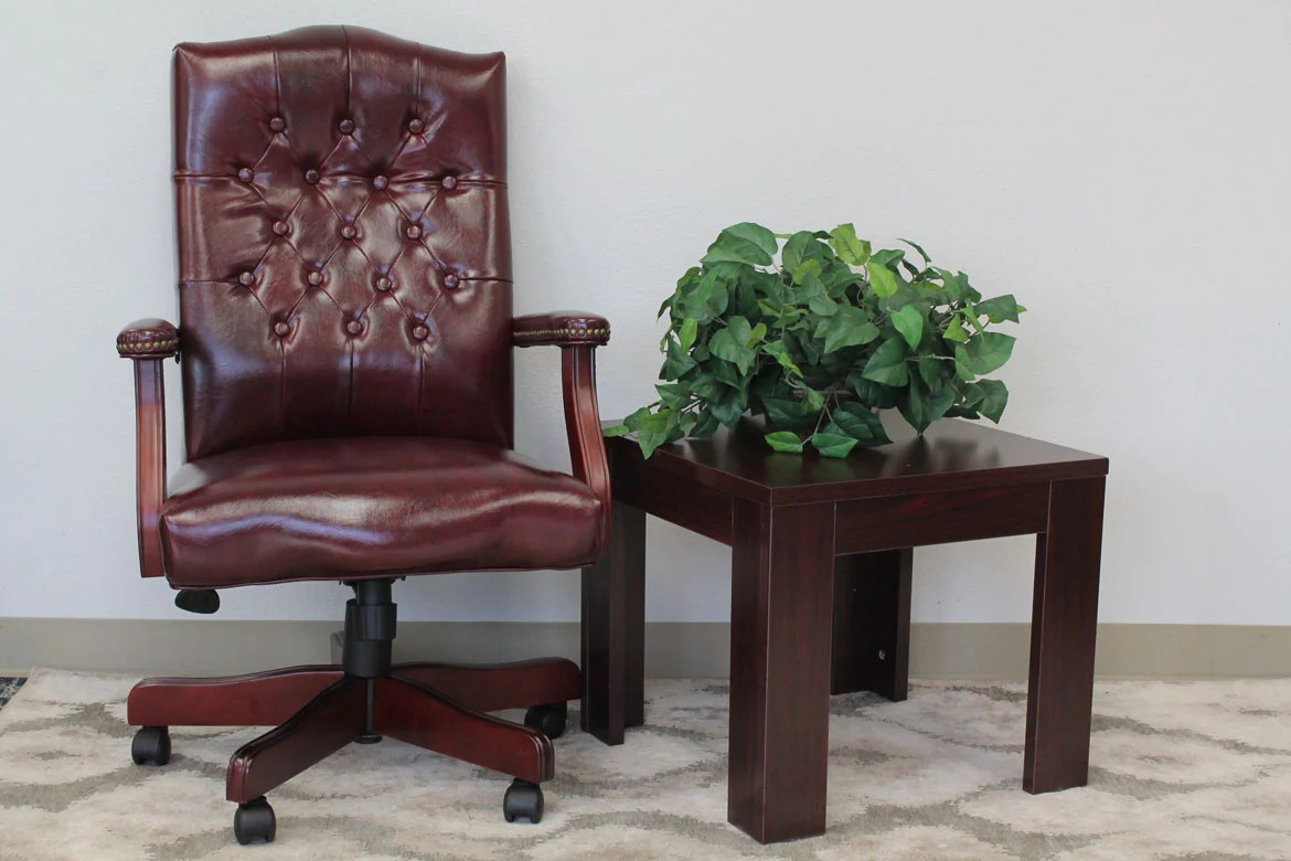 hight resolution of elegant deep red mahogany button tufted office chair