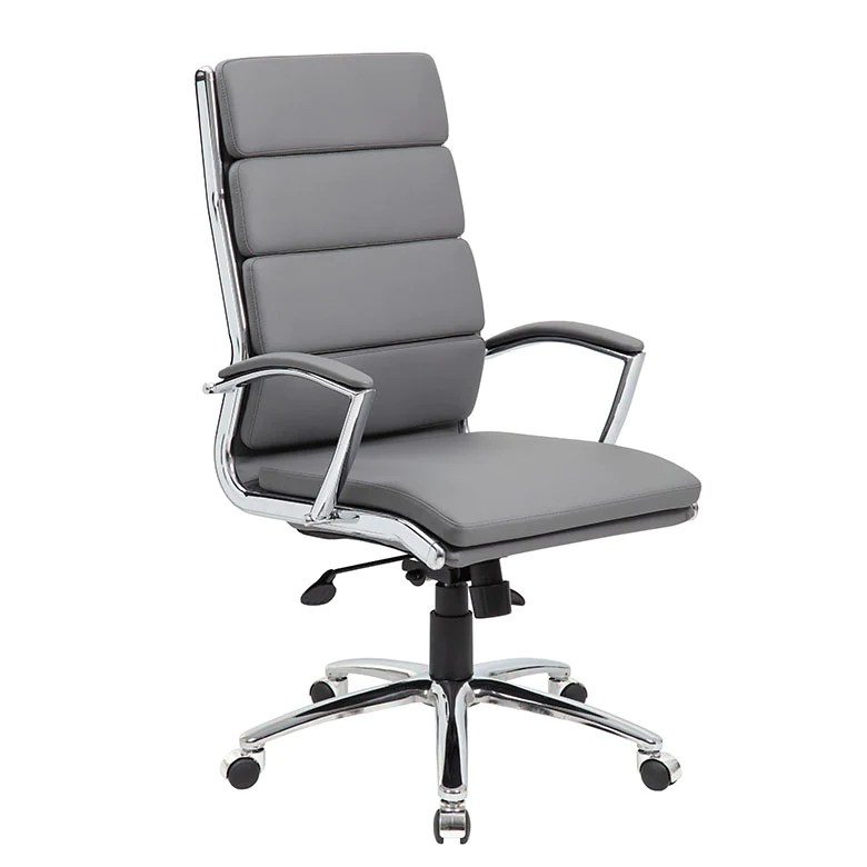 modern grey leather office chair chairside table faux w padded back seat officedesk com
