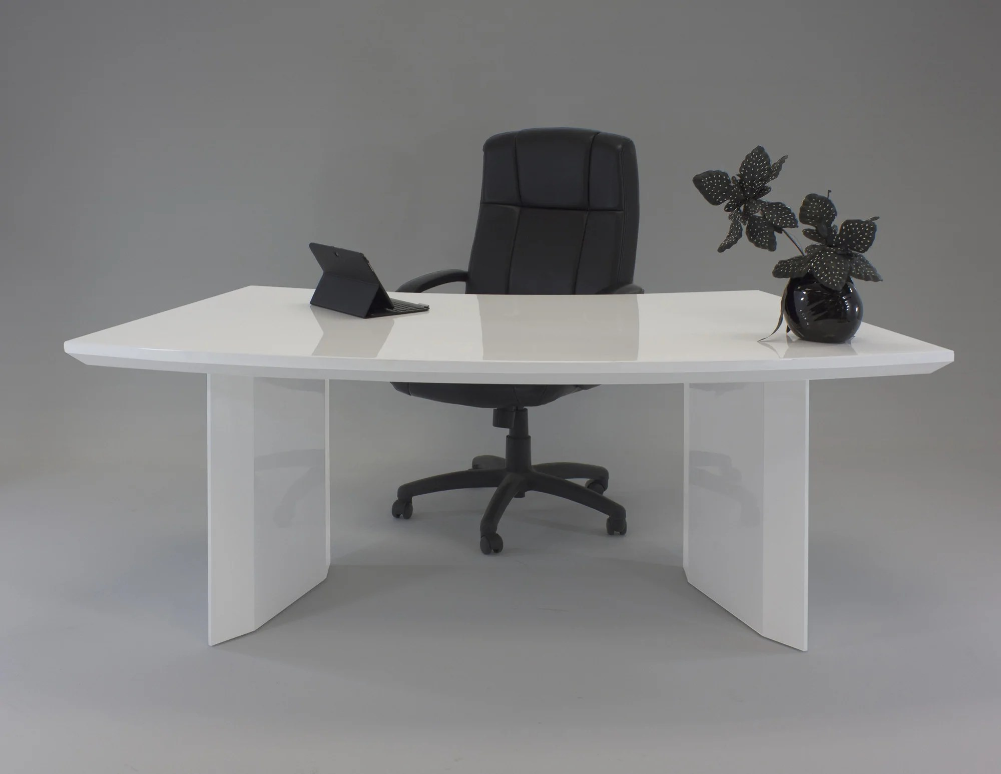"""80.5"""" White Executive Desk with Curve by Sharelle ..."""