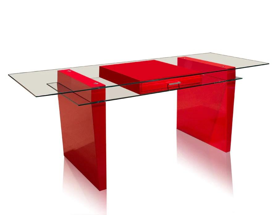 Modern 79 Glass  Red Lacquer Executive Desk  OfficeDeskcom