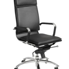 High Backed Chair Modern Leather Chairs For Living Room Gunar Back Black Chrome Office