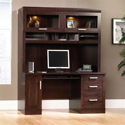 Modern 59 Quot Desk With Hutch With Glass Doors In Dark Alder