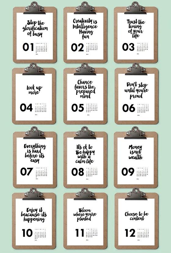 2016 Printable Calendar: Black & White Inspirational Quotes – e.m.papers