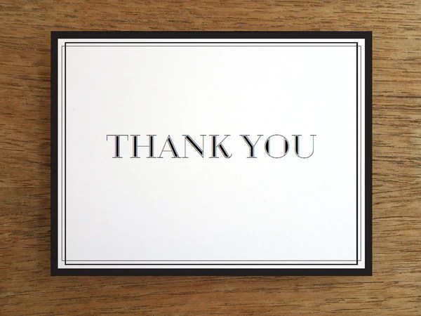 Printable Thank You Card Classic Black And White Em
