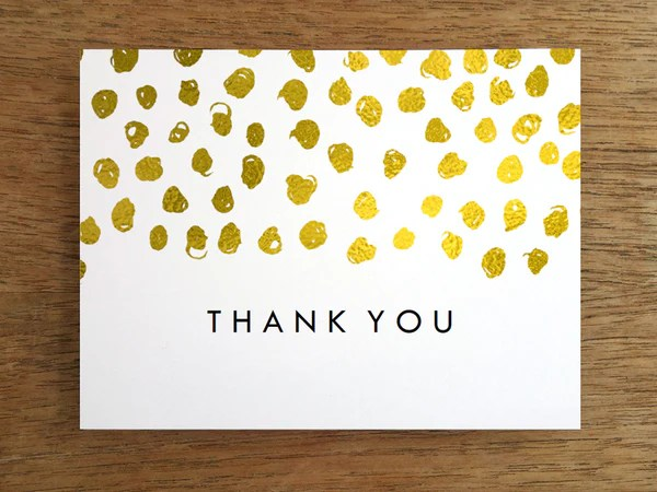 Printable Thank You Card Gold Dots – E M Papers