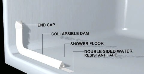 Collapsible Water Dam For Roll In Showers